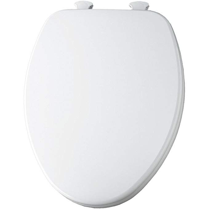 Church 585 White Elongated Closed Front Wood Toilet Seat With