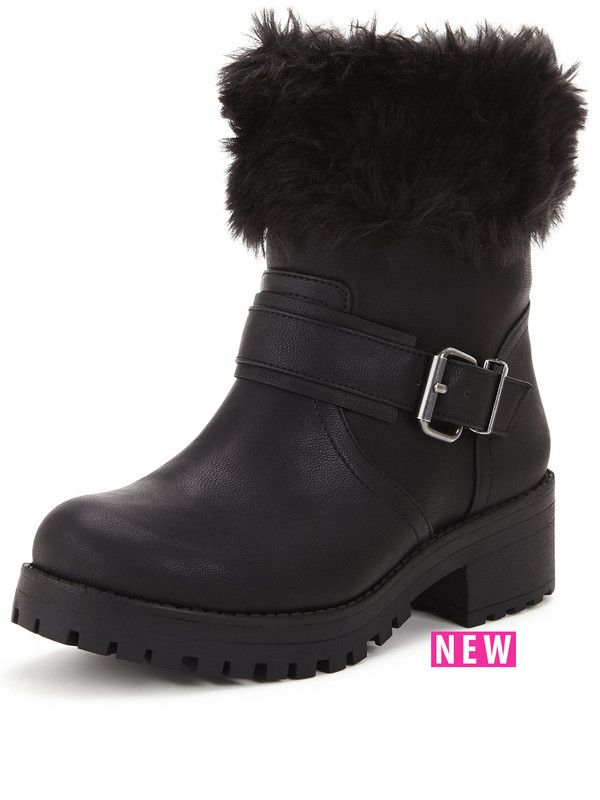 Shoe Box PerditaFaux Fur Cuff Casual Buckle Boot | very.co.uk