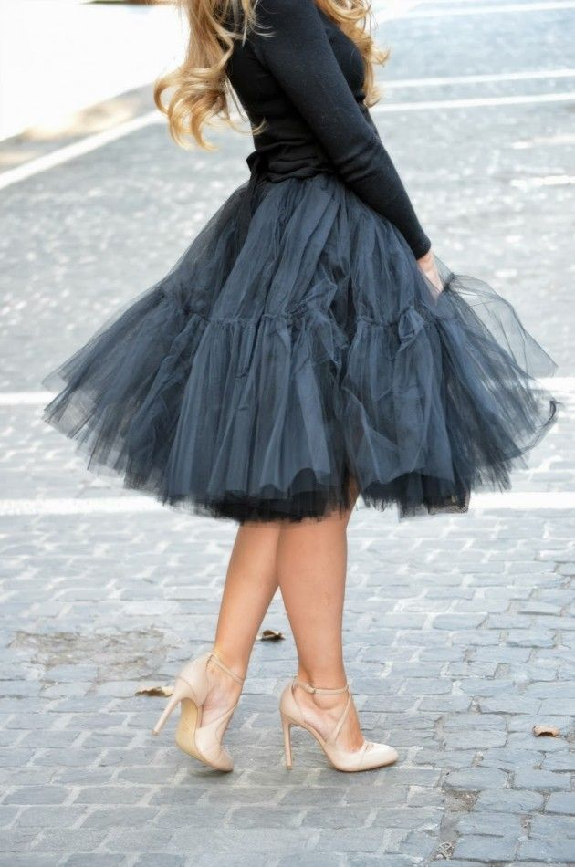 Street style tulle skirt and strapped heels | Just a Pretty Style