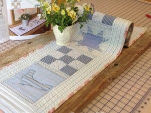 Trost i taklampa, Design Trine Bakke, mønster i Quiltemagasinet 2/15  sydd av og med MaurTua tekstil`s  skjortestoffer,
