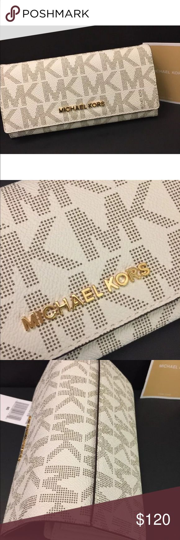 """Michael Kors Carry All Letters Wallet PVC Vanilla 100% Authentic! New With Tag & Care Card  MICHAEL Michael Kors  JET SET TRAVEL Collection Carry All Letters Flap Wallet Style: 35H6GYAE7B Color: Vanilla   Details: MK Signature PVC  Gold-Tone hardware Snap closure; lined Interior zip pocket, 10 card slots, bill compartment Logo plaque on front Measures;  7.75""""L x 1.75""""W x 3.75""""H MICHAEL Michael Kors Bags Wallets"""