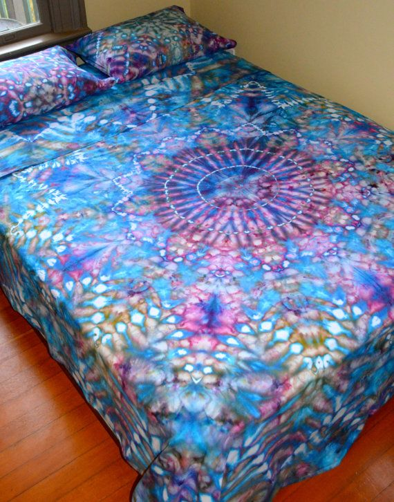 organic hand dyed queen sheet set water mandala psychedelic bedding - Queen Sheet Sets