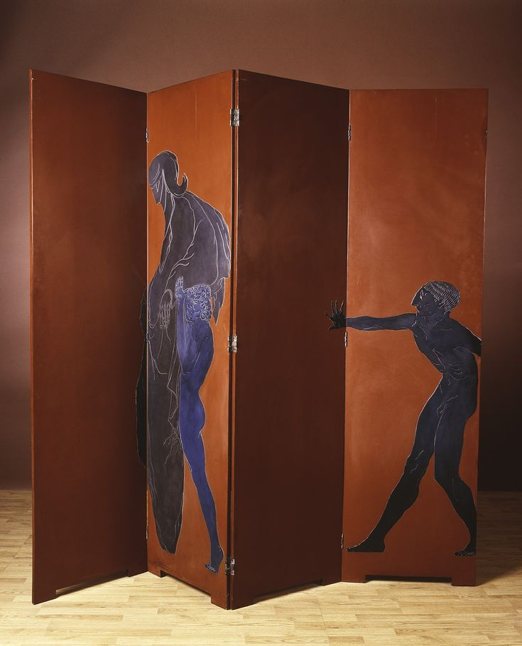 Eileen Gray, Le Destin(Destiny), 1914. Folding screen of four panels in lacquered wood with silvered decoration. Le Destin. © Archives Galerie Vallois. Paris, Arnaud Carpentier.