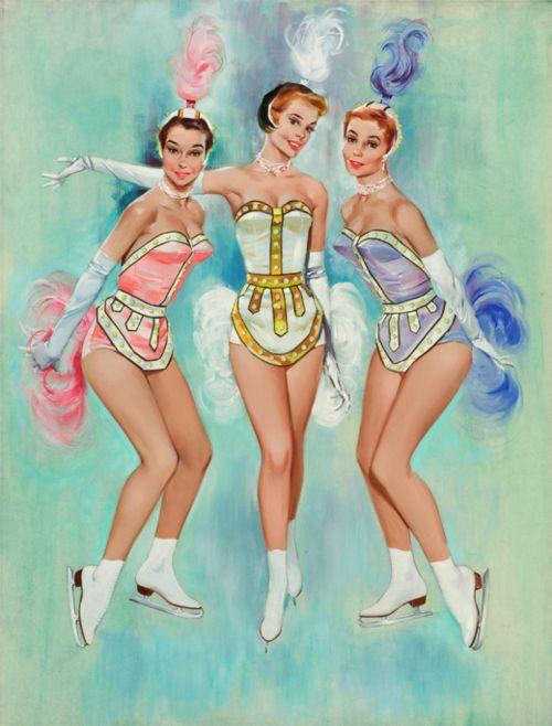 vintage ice skaters