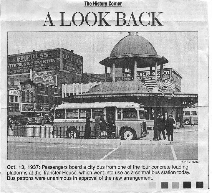 Transfer House on Lincoln Square 1937 Herald & Review photo Decatur Illinois