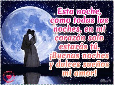 Imagen animada de buenas noches de amor