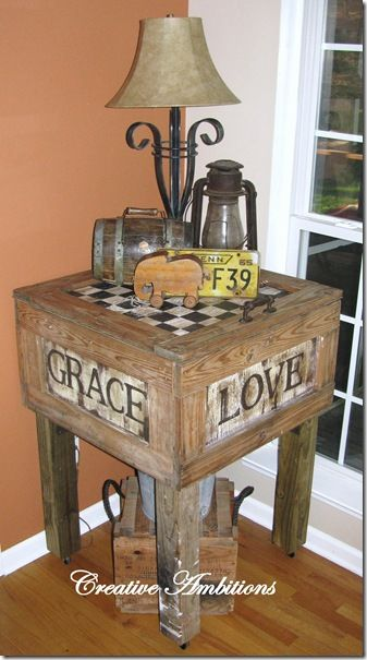 Old Wood Crate...repurposed into a rustic side table...with handpainted sides & checkerboard top.  I want to do this for the deck!
