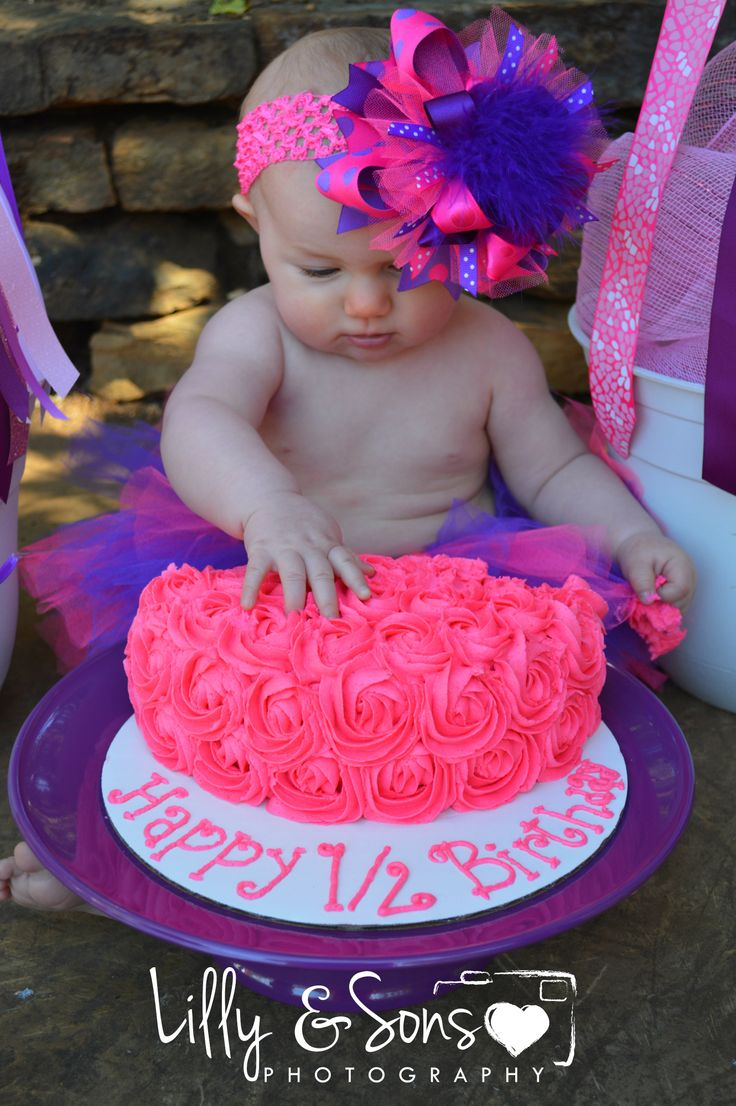 Baby Brylee! #1/2 Birthday #6 Months #Cake Smash #Photography Photo by: Lilly and Sons Photography