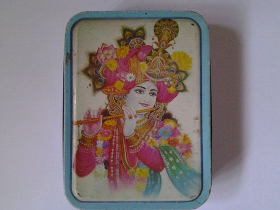 A fabulous 1960's toffee tin from Bombay. by Lallibhai on Etsy, £12.00