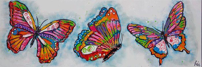 Vrolijke vlinders - www.vrolijkschilderij.nl