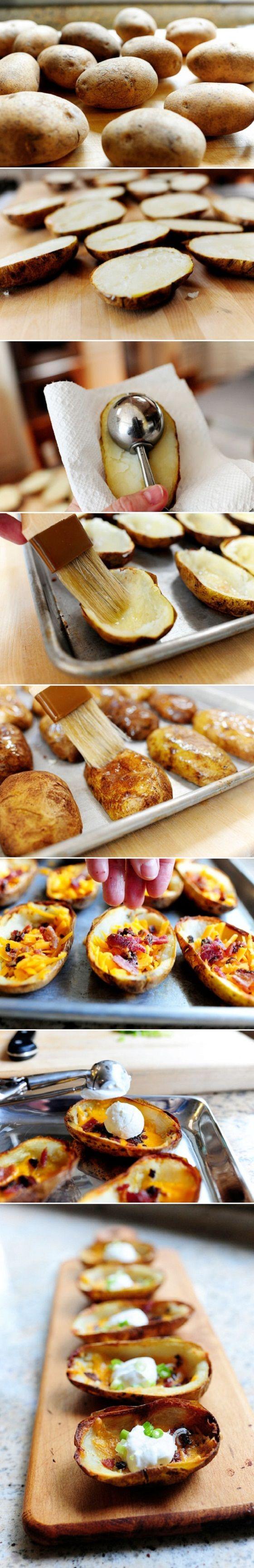 Loaded Baked Potato Skins (use veggie bacon)