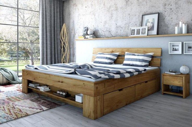 180x200 Bett Futonbett Holzbett mit Bettkasten Wildeiche