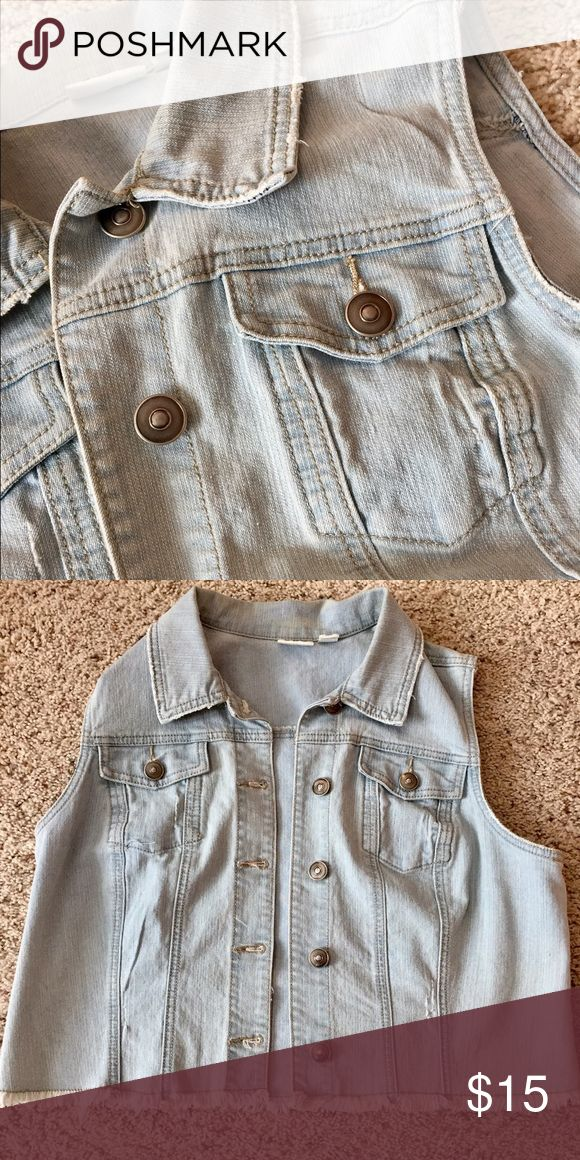 Light Blue Sleeveless Jean Jacket Button up Jean vest. In great condition and hardly no signs or wear. Cato Jackets & Coats Jean Jackets