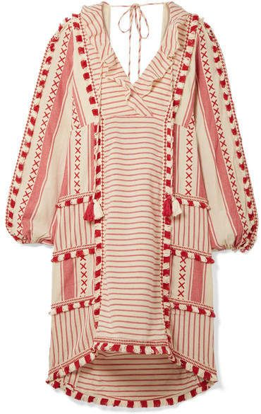 71590d6447b9fb Dodo Bar Or - Tasseled Striped Cotton-gauze Dress - Red Sandro, Gauze Dress