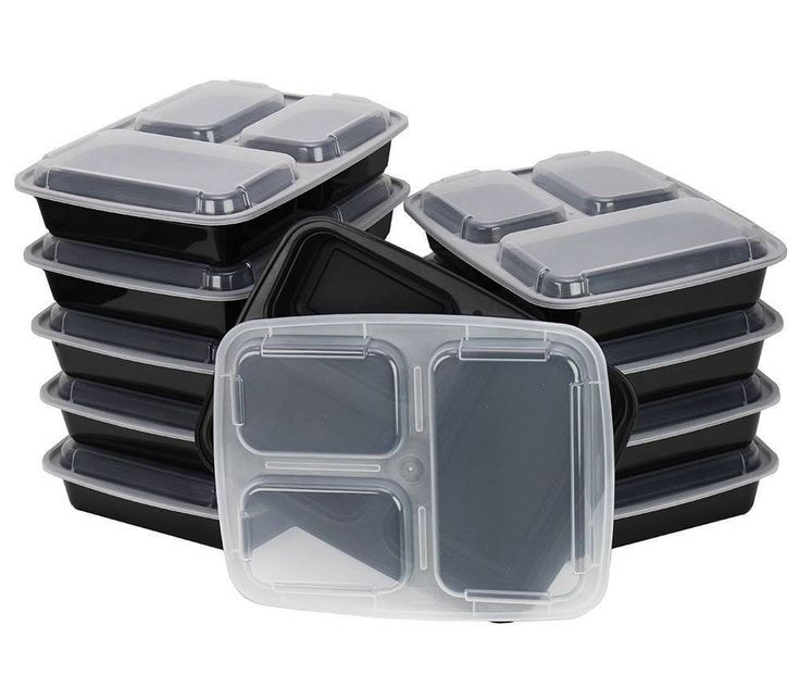 10 Pack-3 Compartment Container with Lid; Bento Box, Lunch Tray, Divided Plate