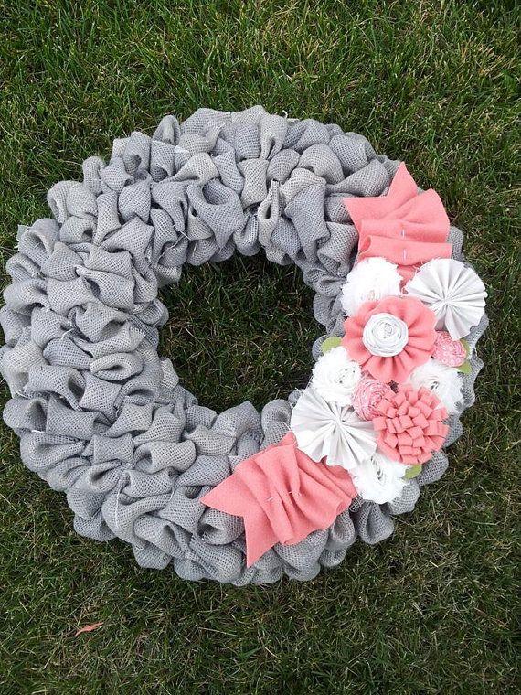 Burlap bubble wreath....18 inch.....Grey by Mymissprissboutique, $45.00