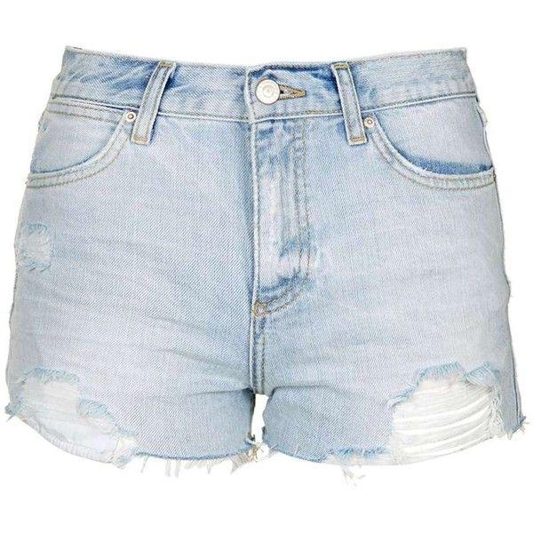 TopShop Petite Rosa Pocket Bag Short ($37) ❤ liked on Polyvore featuring shorts, ripped short shorts, distressed shorts, bleached shorts, mid rise shorts and topshop
