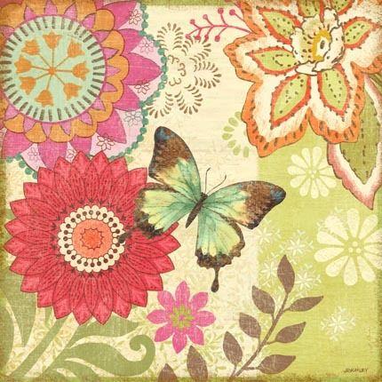 Nature Garden Butterfly Red Flower-Sq by Jennifer Brinley | Ruth Levison Design