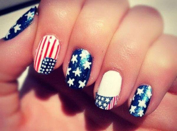 Amazing Flag-Inspired Nails.