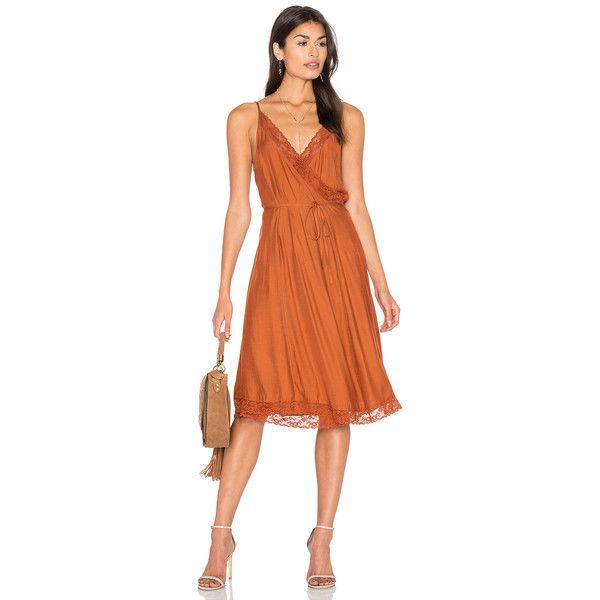 Somedays Lovin Canyon Wrap Dress ($65) ❤ liked on Polyvore featuring dresses, scalloped hem dress, wrap dress, scallop trim dress, wrap front dress and red dress