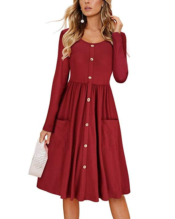 Woman/'s Sage Green Long Sleeve T-Shirt Dress Ladies Pocket Dress Stylish Women Clothes