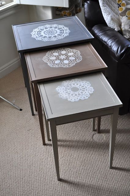 I Am Momma   Hear Me Roar: Painted Doily Nesting Tables