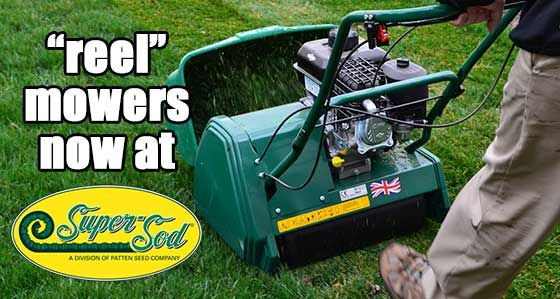 Super-Sod's New Allett Reel (or cylinder) Lawn Mowers, for a clean-cut lawn (cuts like scissors, rather than a machete like a rotary mower). A clean cut means reduced water loss!