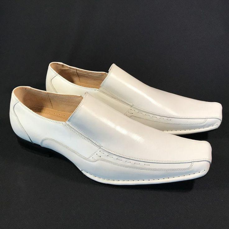 Stacy Adams TEMPLIN Mens White Leather Slip On Dress Shoes | eBay