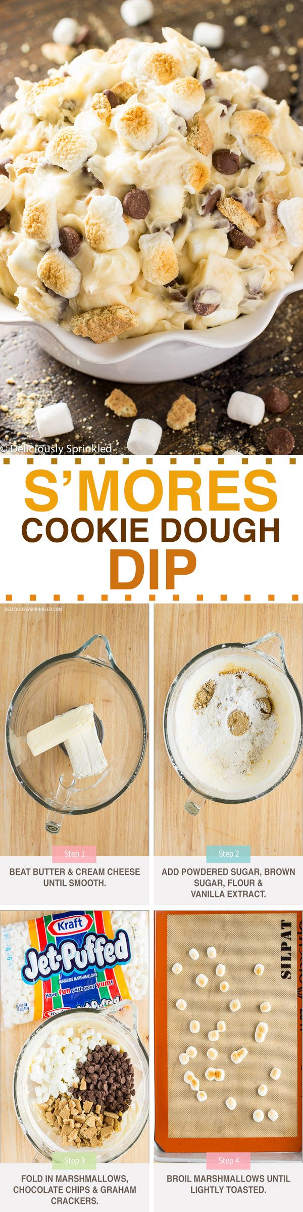 S'mores Cookie Dough Dip  @kraftjetpuffed #JetPuffed #JetPuffedBlogger #ad