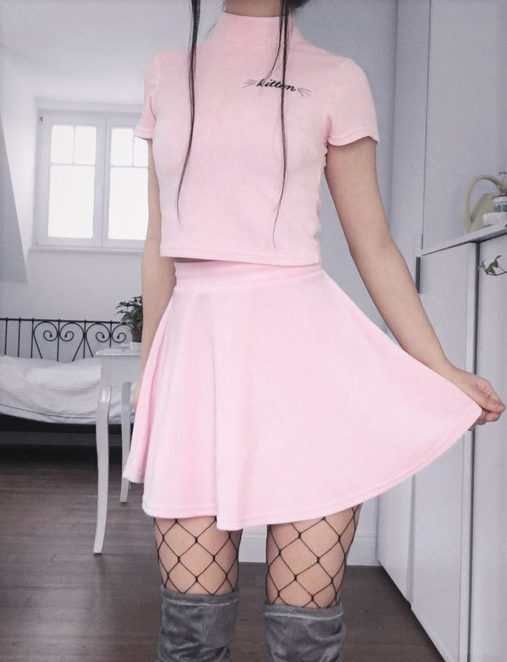 """Pink """"Kitten"""" printed shirt & skirt with fishnet tights by caminimm"""