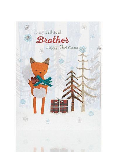 Fox Design Brother Christmas Card | M&S