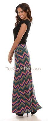 Slate and Coral Chevron Maxi Skirt | Trendy Modest Clothing | Chevron Maxi Skirt