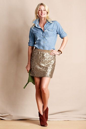 Women's Sequin Mini Skirt from Lands' End Canvas (Chambray, sequins, & suede)