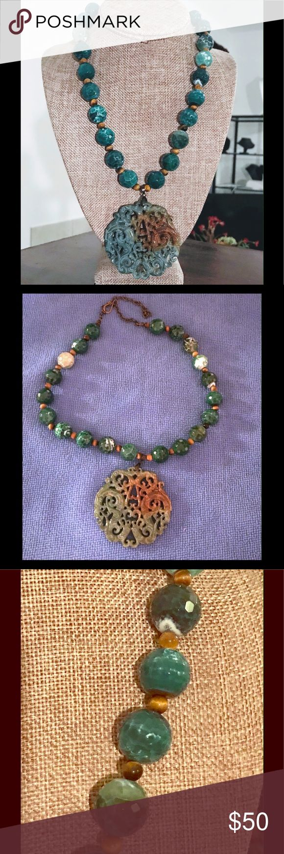"""Green Agate Necklace Green faceted agate beads separated with tiger eye beads with suspended carved pendant with 4"""" bronze extender chain and """"s"""" hook closure. Necklace 23.5"""" Pendant 2.5"""" jewelrybyanneg Jewelry Necklaces"""