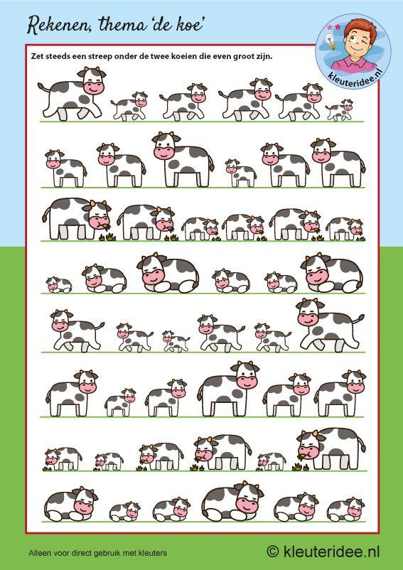 Zoek de koeien die even groot zijn, kleuteridee, free printable, thema de koe.