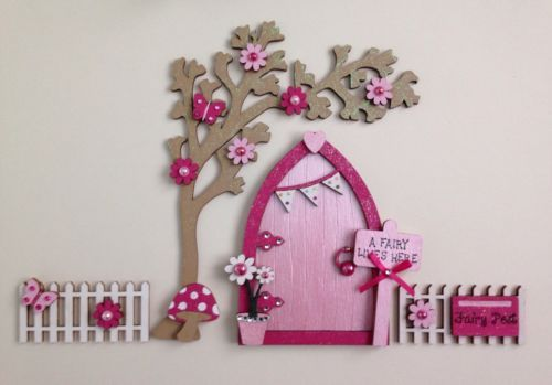 #Magical hand #painted pink #blossom fairy door and tree with fencing,  View more on the LINK: http://www.zeppy.io/product/gb/2/272224206046/