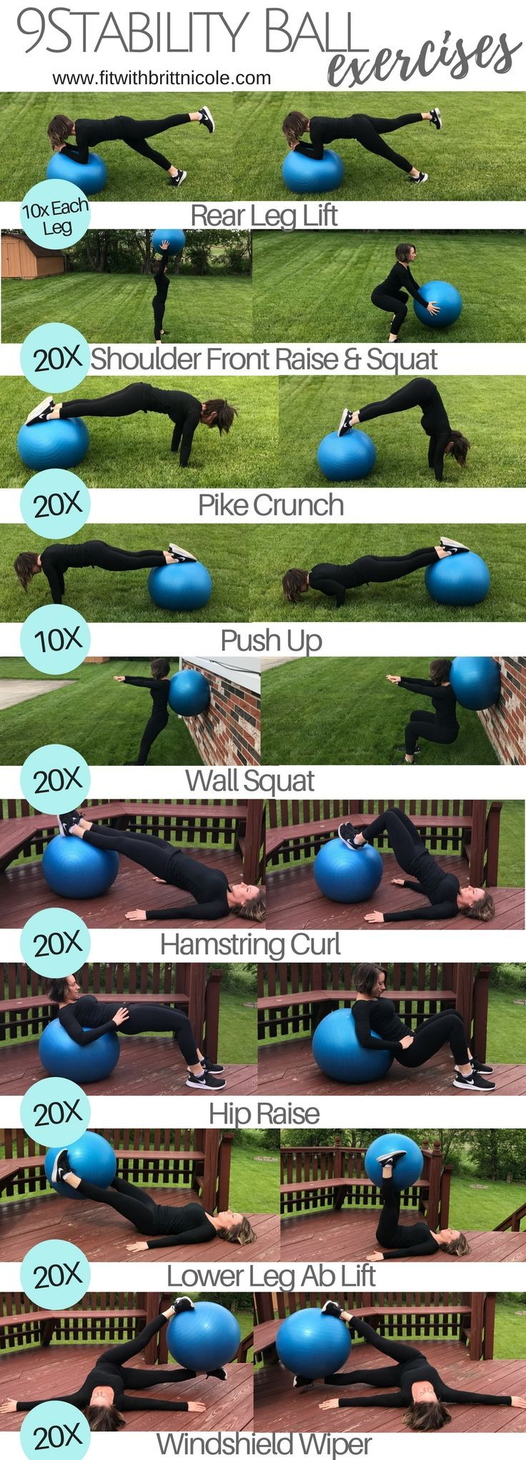 9 stability ball exercises! This is a workout at home or a fitness workout! A large