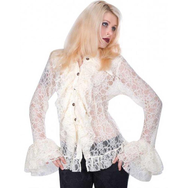 Aderlass. Een crème kleurige transparante dames blouse in steampunk stijl met bloemen patroon en wijd uitlopende mouwen. Aan de voorkant is de blouse geplooid.