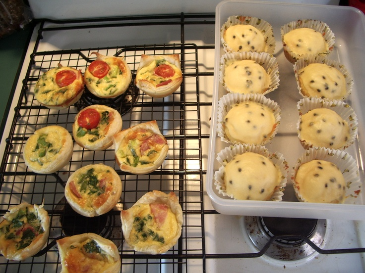 Torz's quiches and my passionfruit cupcakes, Carlton North VIC, October 2006.