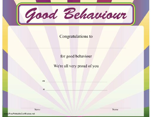 this certificate of good behaviour is both colorful and