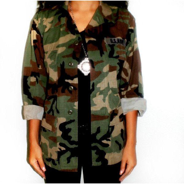 Oversized Vintage Camo Jacket ($42) ❤ liked on Polyvore