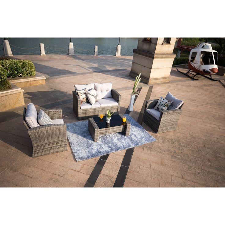 Direct Wicker Jamacia Resin Wicker 4 Piece Outdoor Conversation Set (Brown  Wicker), Size 4 Piece Sets, Patio Furniture (PVC Wicker)