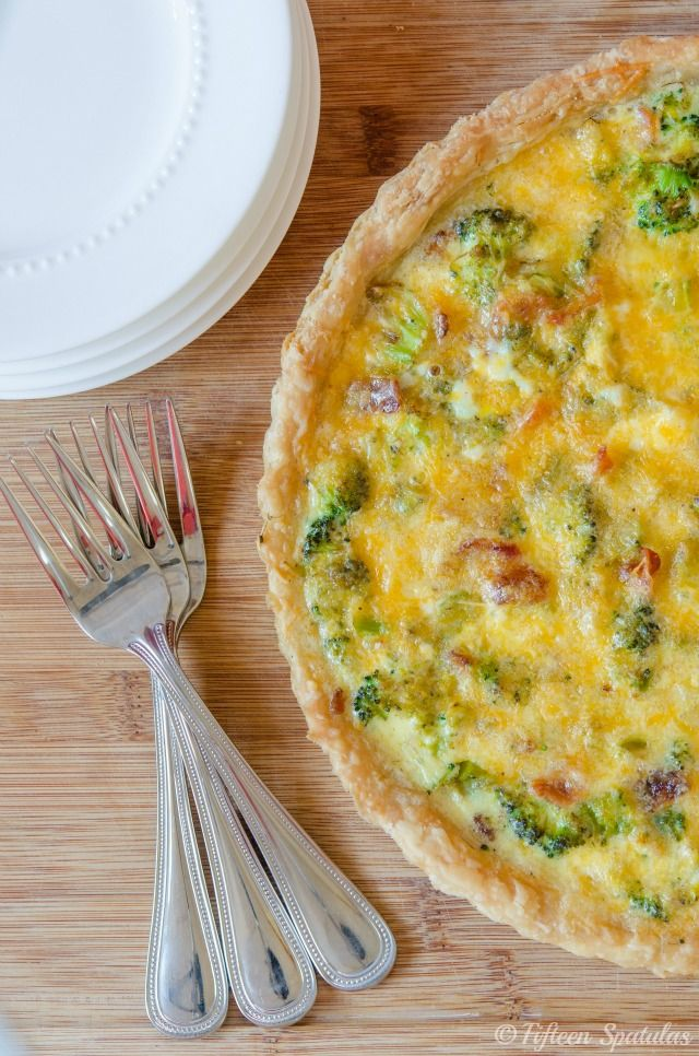 Oh! Yum! Gee! This looks so amazing and I am not a big quiche fan. But I think I would love this one! Cheesy Broccoli Bacon Quiche- Savory Simple  #quiche #entrees #recipes
