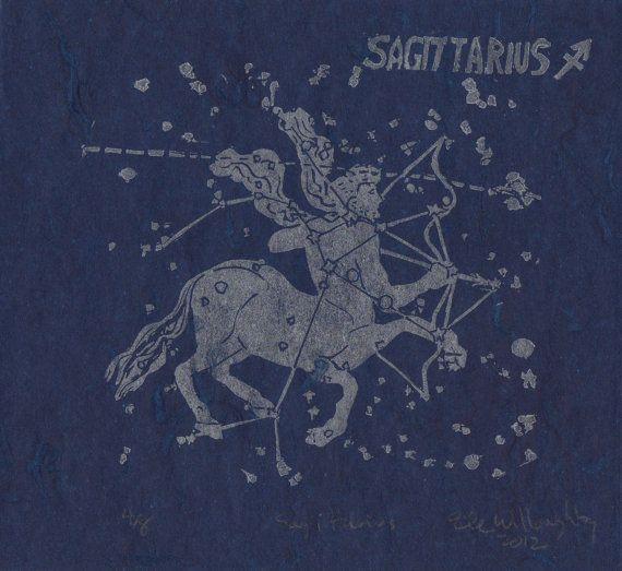 Sagittarius the Archer Constellation Linocut by minouette on Etsy, $22.00