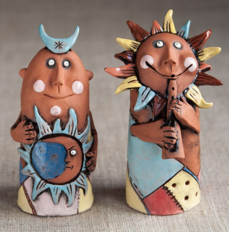 """Ceramic figurines """"the moon and the Sun"""" by KuklaArt on Etsy"""