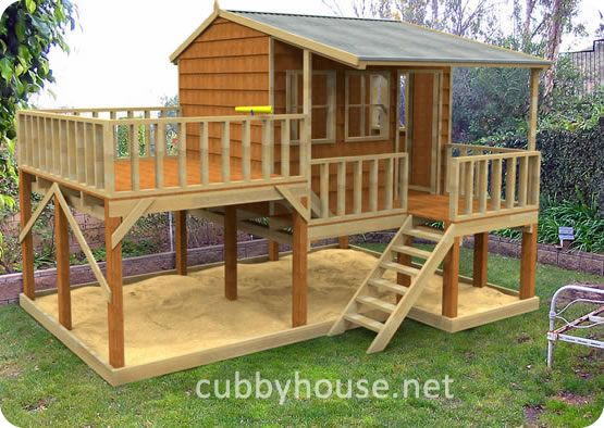 Elevated playhouse plans kits diy handyman cubby for Play yard plans