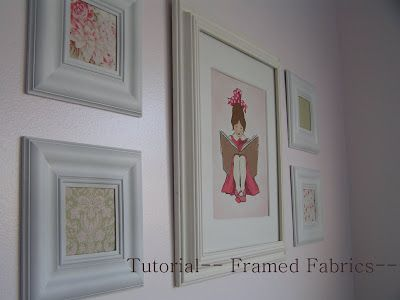 Tea Rose Home: Tutorial-- Framed Fabric Using Dollar Store Frames