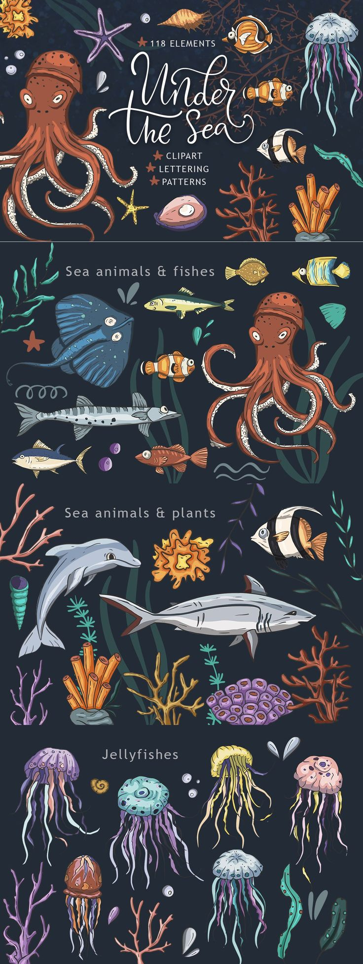 Under the sea. by Red Ink on Creative Market – Daily Quotes Sea Creatures Drawing, Creature Drawings, Love Photos, Cool Pictures, Under The Sea Pictures, Under The Sea Drawings, Underwater Drawing, Sea Illustration, Sea Plants