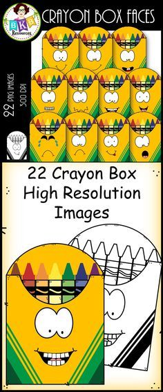 This 22 piece clip art set includes a variety of faces on a crayon box. There are 11 vibrant colored images and 11 black and white versions. All images have a high resolution so you can enlarge them and they will still be crisp. All images are in png form