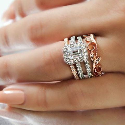 Beautiful wedding stack - all from @gabrielco <3 Click to see the rose gold floral stackable band!